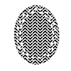 Funky Chevron Stripes Triangles Ornament (oval Filigree) by Mariart