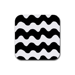 Lokki Cotton White Black Waves Rubber Square Coaster (4 Pack)  by Mariart
