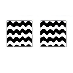 Lokki Cotton White Black Waves Cufflinks (square) by Mariart