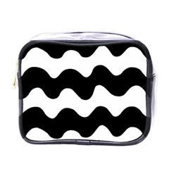 Lokki Cotton White Black Waves Mini Toiletries Bags by Mariart