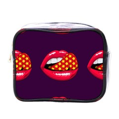 Lip Vector Hipster Example Image Star Sexy Purple Red Mini Toiletries Bags by Mariart