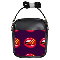 Lip Vector Hipster Example Image Star Sexy Purple Red Girls Sling Bags by Mariart