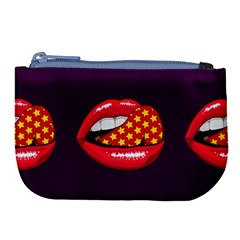 Lip Vector Hipster Example Image Star Sexy Purple Red Large Coin Purse by Mariart