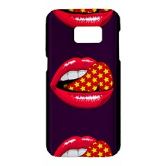 Lip Vector Hipster Example Image Star Sexy Purple Red Samsung Galaxy S7 Hardshell Case  by Mariart