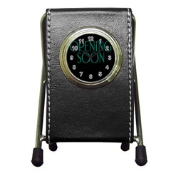 Opening Soon Sign Pen Holder Desk Clocks