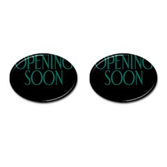 Opening Soon Sign Cufflinks (oval) by Mariart