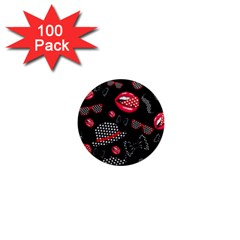 Lip Hat Vector Hipster Example Image Star Sexy Black Red 1  Mini Magnets (100 Pack)  by Mariart