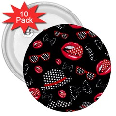 Lip Hat Vector Hipster Example Image Star Sexy Black Red 3  Buttons (10 Pack)  by Mariart