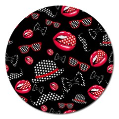 Lip Hat Vector Hipster Example Image Star Sexy Black Red Magnet 5  (round) by Mariart
