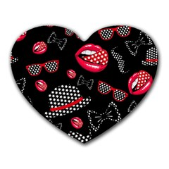 Lip Hat Vector Hipster Example Image Star Sexy Black Red Heart Mousepads by Mariart