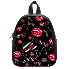 Lip Hat Vector Hipster Example Image Star Sexy Black Red School Bags (small)  by Mariart