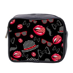 Lip Hat Vector Hipster Example Image Star Sexy Black Red Mini Toiletries Bag 2 Side by Mariart
