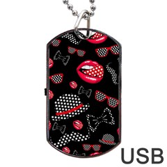 Lip Hat Vector Hipster Example Image Star Sexy Black Red Dog Tag Usb Flash (one Side) by Mariart