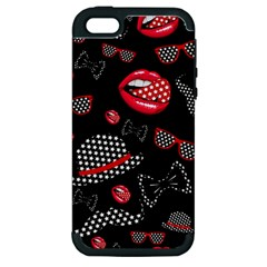 Lip Hat Vector Hipster Example Image Star Sexy Black Red Apple Iphone 5 Hardshell Case (pc+silicone) by Mariart