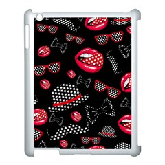 Lip Hat Vector Hipster Example Image Star Sexy Black Red Apple Ipad 3/4 Case (white) by Mariart