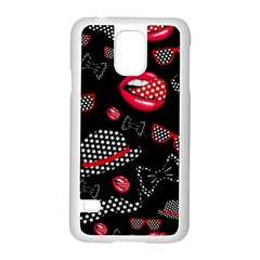 Lip Hat Vector Hipster Example Image Star Sexy Black Red Samsung Galaxy S5 Case (white) by Mariart