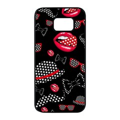Lip Hat Vector Hipster Example Image Star Sexy Black Red Samsung Galaxy S7 Edge Black Seamless Case by Mariart