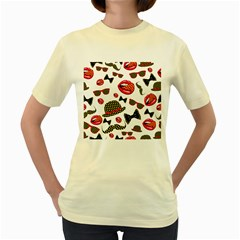 Lip Hat Vector Hipster Example Image Star Sexy Women s Yellow T Shirt by Mariart