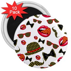 Lip Hat Vector Hipster Example Image Star Sexy 3  Magnets (10 Pack)  by Mariart
