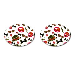 Lip Hat Vector Hipster Example Image Star Sexy Cufflinks (oval) by Mariart