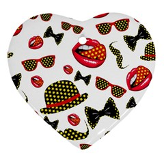 Lip Hat Vector Hipster Example Image Star Sexy Heart Ornament (two Sides) by Mariart