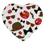 Lip Hat Vector Hipster Example Image Star Sexy Heart Ornament (Two Sides) Back
