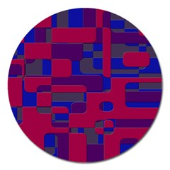 Offset Puzzle Rounded Graphic Squares In A Red And Blue Colour Set Magnet 5  (round) by Mariart