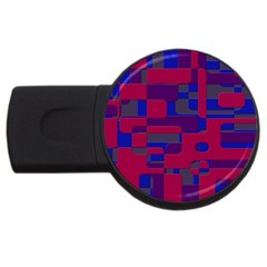 Offset Puzzle Rounded Graphic Squares In A Red And Blue Colour Set Usb Flash Drive Round (2 Gb) by Mariart