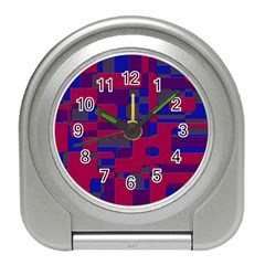 Offset Puzzle Rounded Graphic Squares In A Red And Blue Colour Set Travel Alarm Clocks by Mariart