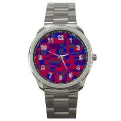 Offset Puzzle Rounded Graphic Squares In A Red And Blue Colour Set Sport Metal Watch by Mariart