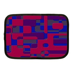 Offset Puzzle Rounded Graphic Squares In A Red And Blue Colour Set Netbook Case (medium)  by Mariart