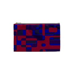 Offset Puzzle Rounded Graphic Squares In A Red And Blue Colour Set Cosmetic Bag (small)  by Mariart