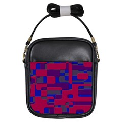 Offset Puzzle Rounded Graphic Squares In A Red And Blue Colour Set Girls Sling Bags by Mariart