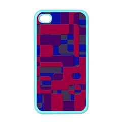 Offset Puzzle Rounded Graphic Squares In A Red And Blue Colour Set Apple Iphone 4 Case (color) by Mariart