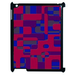 Offset Puzzle Rounded Graphic Squares In A Red And Blue Colour Set Apple Ipad 2 Case (black) by Mariart