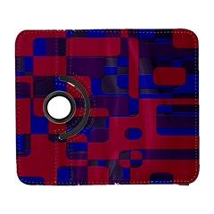 Offset Puzzle Rounded Graphic Squares In A Red And Blue Colour Set Galaxy S3 (flip/folio) by Mariart