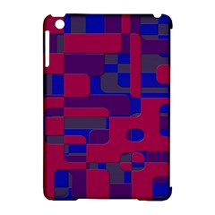 Offset Puzzle Rounded Graphic Squares In A Red And Blue Colour Set Apple Ipad Mini Hardshell Case (compatible With Smart Cover) by Mariart