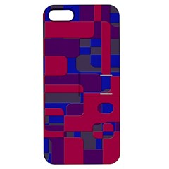 Offset Puzzle Rounded Graphic Squares In A Red And Blue Colour Set Apple Iphone 5 Hardshell Case With Stand by Mariart