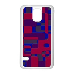 Offset Puzzle Rounded Graphic Squares In A Red And Blue Colour Set Samsung Galaxy S5 Case (white) by Mariart