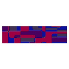 Offset Puzzle Rounded Graphic Squares In A Red And Blue Colour Set Satin Scarf (oblong) by Mariart