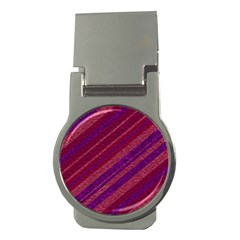 Maroon Striped Texture Money Clips (round)  by Mariart