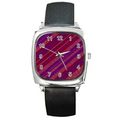 Maroon Striped Texture Square Metal Watch by Mariart
