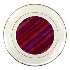 Maroon Striped Texture Porcelain Plates by Mariart
