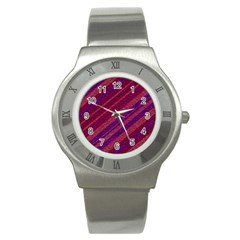 Maroon Striped Texture Stainless Steel Watch by Mariart