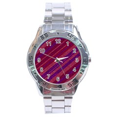 Maroon Striped Texture Stainless Steel Analogue Watch by Mariart