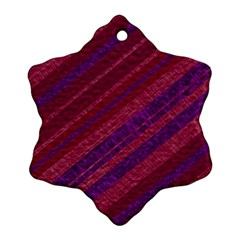 Maroon Striped Texture Snowflake Ornament (two Sides) by Mariart