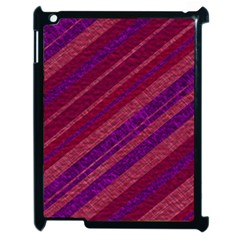 Maroon Striped Texture Apple Ipad 2 Case (black) by Mariart