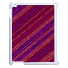 Maroon Striped Texture Apple Ipad 2 Case (white) by Mariart