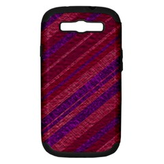 Maroon Striped Texture Samsung Galaxy S Iii Hardshell Case (pc+silicone) by Mariart