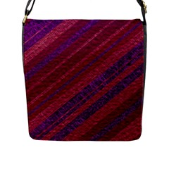 Maroon Striped Texture Flap Messenger Bag (l)  by Mariart